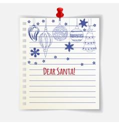 Dear Santa card vector image