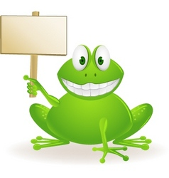 frog cartoon and blank sign vector image vector image