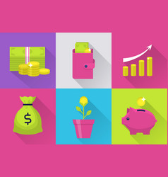 modern icons set with money vector image vector image