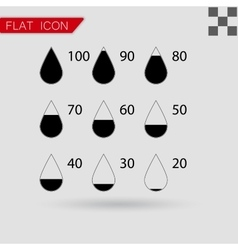 set drop black icons square vector image vector image