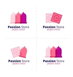 sex shop condom logos collection vector image