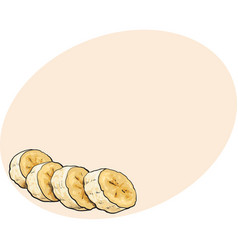 sliced chopped unpeeled ripe banana sketch style vector image vector image