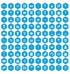 100 summer shopping icons set blue vector