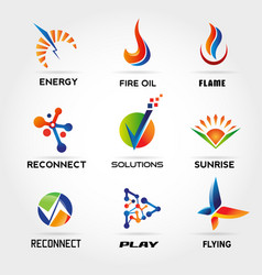 abstract colorful logo set sign symbol icon vector image