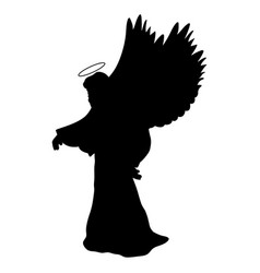 Archangel silhouette christmas angel religious vector