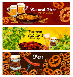Banners for brewery beer traditions vector
