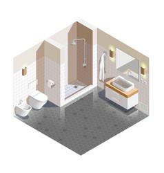 Bathroom interior isometric composition vector
