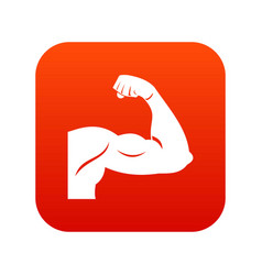biceps icon digital red vector image