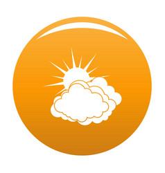 blue cloudy sun icon orange vector image
