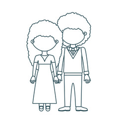 Blue contour faceless curly couple woman with long vector