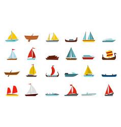 boat icon set flat style vector image