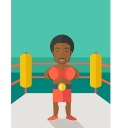 Boxer in gloves standing in ring vector image