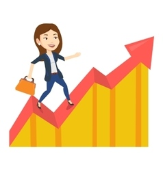 Business woman standing on profit chart vector