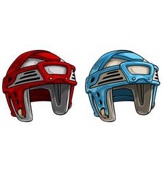 cartoon ice hockey protective sport helmet vector image