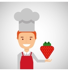 Cheerful chef fresh strawberry graphic vector