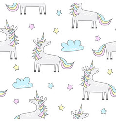 childish seamless pattern with cute unicorn vector image