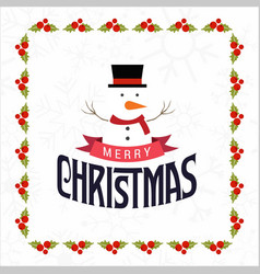 christmas frame with snow man vector image