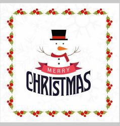 christmas frame with snow man vector image