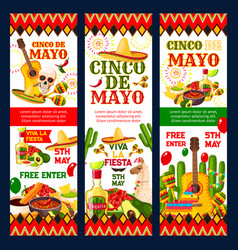 cinco de mayo mexican fiesta party invitation card vector image