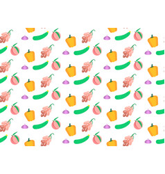 colored vegetables and fruits seamless pattern vector image