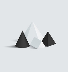 cone prism and square pyramid figures set vector image