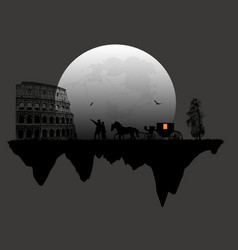 couple silhouette and carriage in front of vector image
