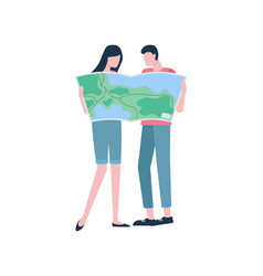couple with map travelers or hikers vacation vector image