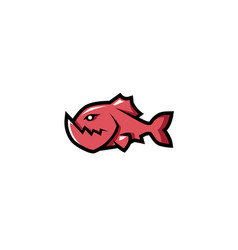 creative red piranha fish logo vector image
