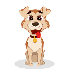 cute funny dog puppy cartoon character vector image
