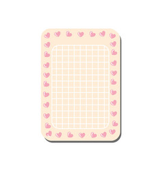 cute pink card with place for notes trendy vector image