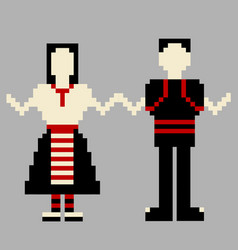 Dancers man and woman with national costume vector