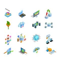Data Analyses Elements Isometric Icons Set vector