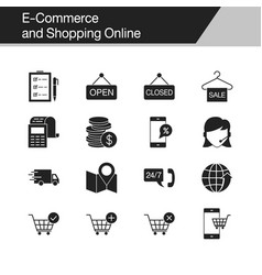e-commerce and shopping online icons design vector image