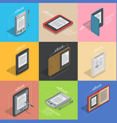 electronic books icon set isometric flat vector image