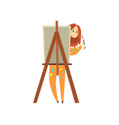 female artist painting on canvas talented painter vector image
