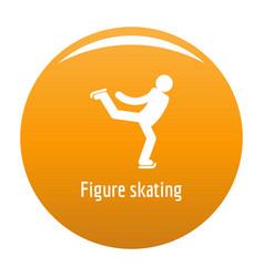Figure skating icon orange vector