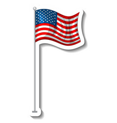 Flag united states america with pole vector