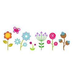 flat flowers border colorful abstract floral vector image