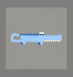 Flat shading style icon cartoon crocodile vector