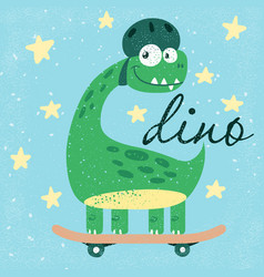 funny cute dino dinosaur vector image