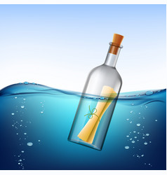 Glass bottle with message floats in water vector