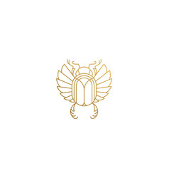 Golden egyptian scarab silhouette linear vector