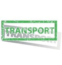 Green outlined TRANSPORT stamp vector