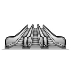 group of escalator in metro mockup realistic vector image