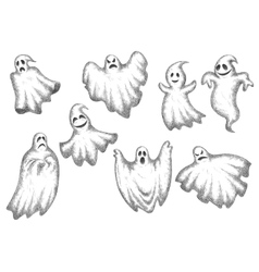 Halloween funny cartoon ghosts set vector