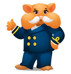 hamster in the costume of the captain of the ship vector image