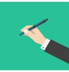 Hand holding pen isolated on green color vector