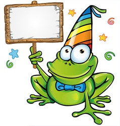happy frog party with signboard vector image