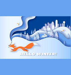 horizontal banner hello winter with fox running vector image