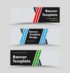Horizontal black web banner templates with vector
